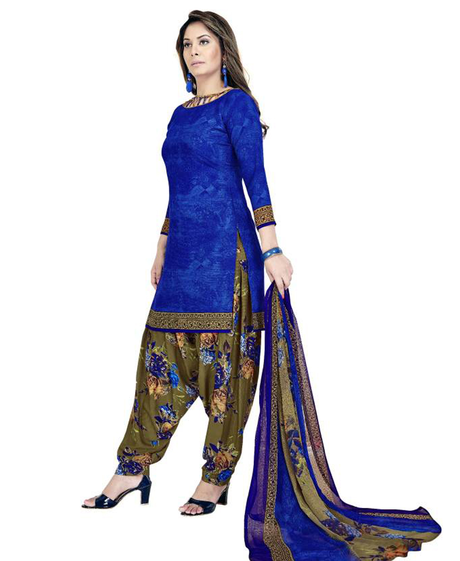 b0d007cd7 Fashion Valley Crepe Self Design Salwar Suit Dupatta Material (Un ...