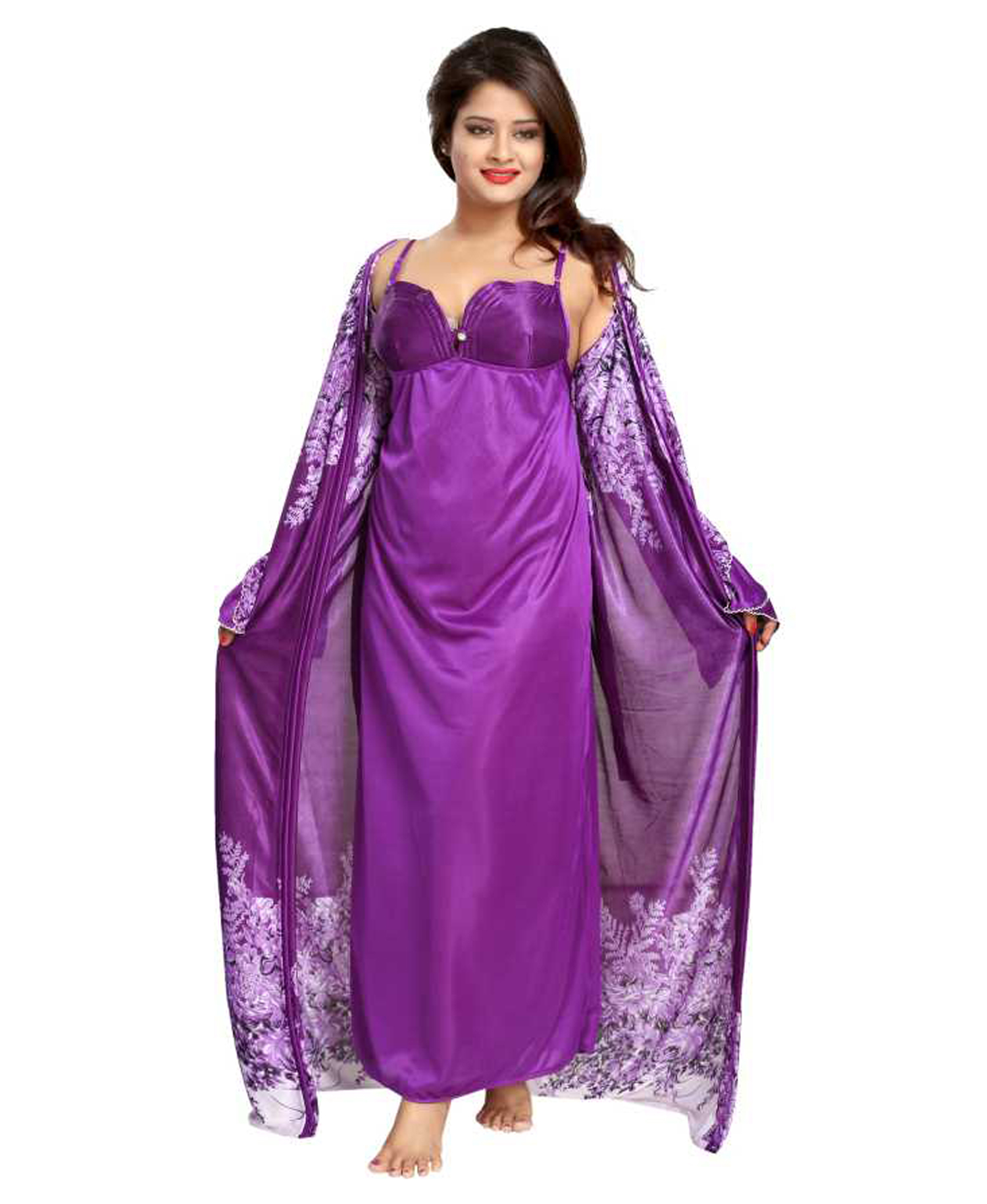 7146ad1f9 Shopping Station Women Nighty with Robe (Purple)