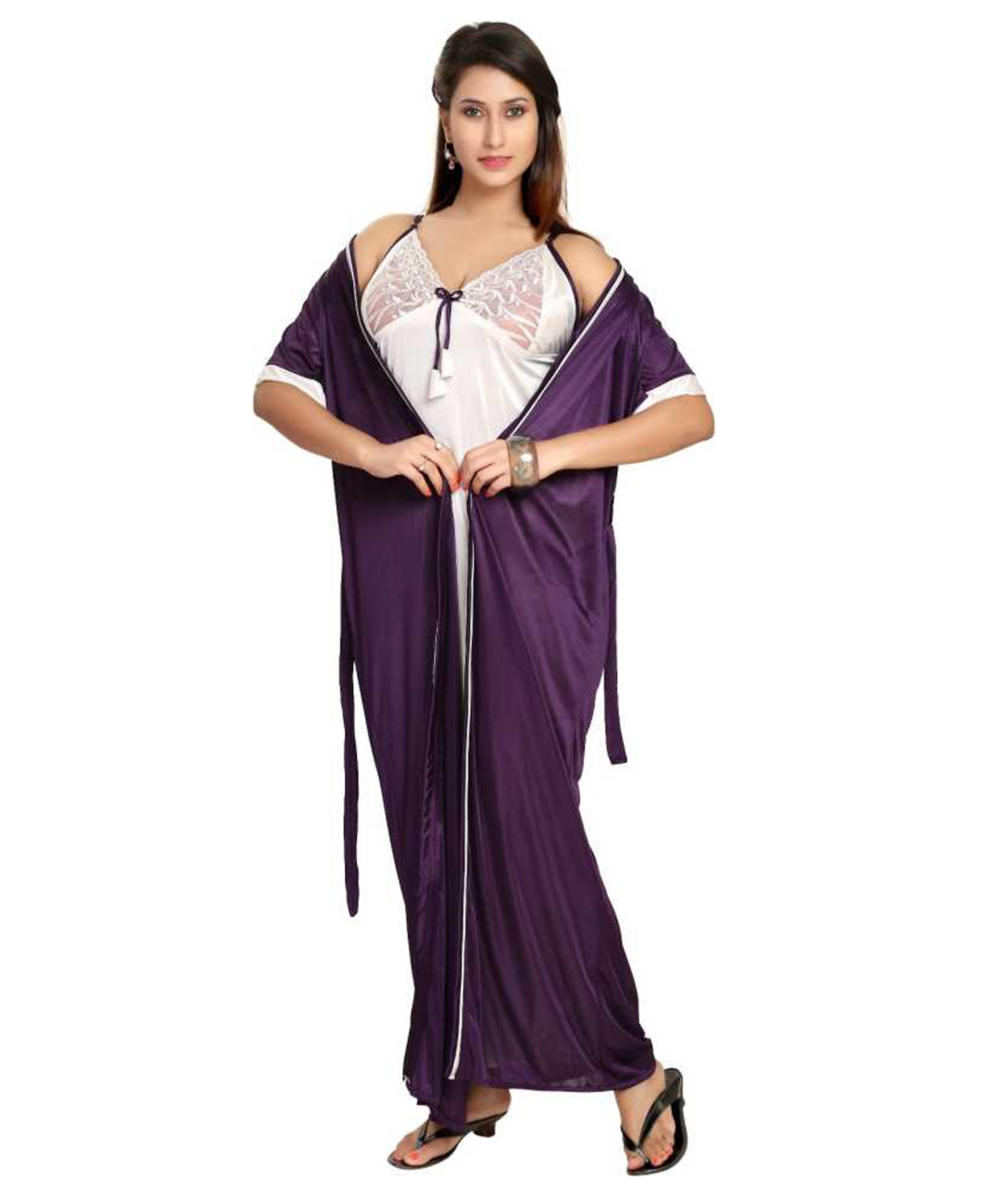 4add977bc6 Fashigo Womens Nighty with Robe (Purple)