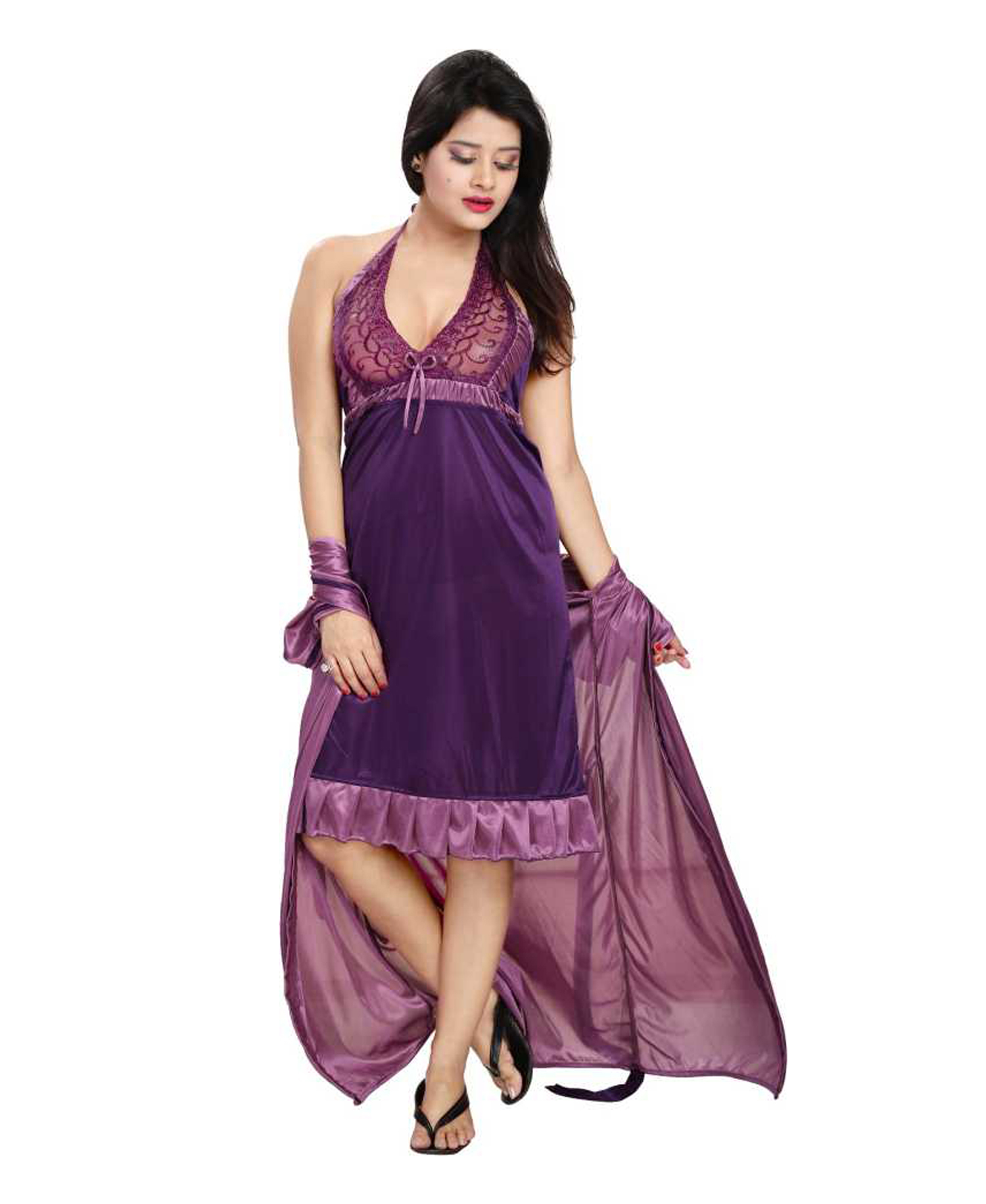 b8afee58c8 Fashigo Women Nighty with Robe (Purple)